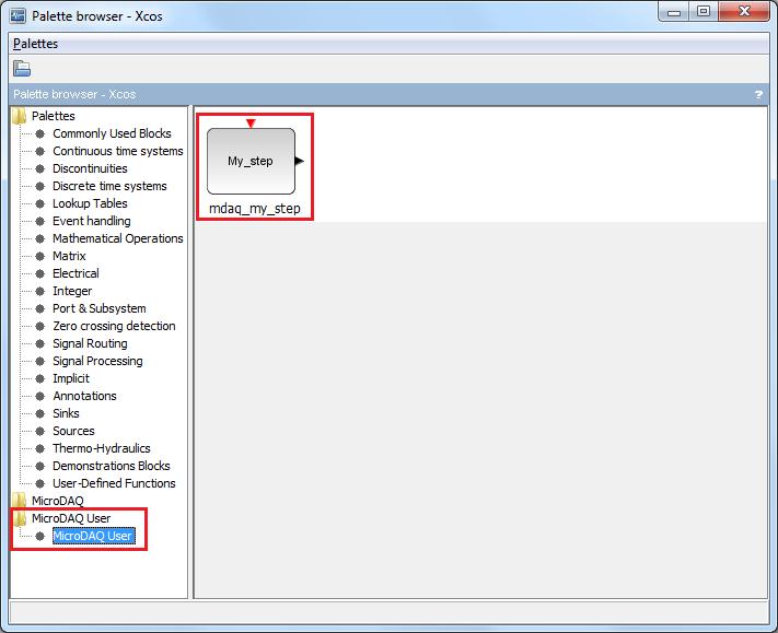 Custom 'My step' Xcos block for MicroDAQ